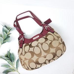 COACH Tan Soho Signature Medium Hobo Bag